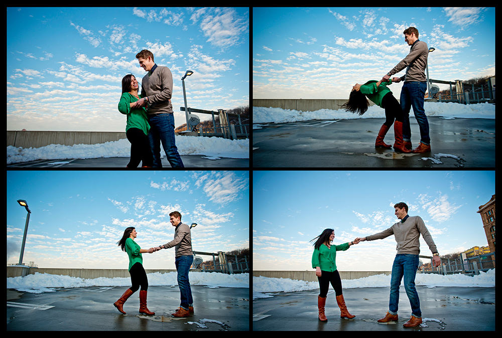 OWSP Pittsburgh Engagement Dancing on Rooftop